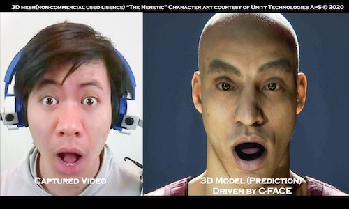 Captured video of a user's facial expression (left), with the resulting three-dimensional model predicted by C-Face.